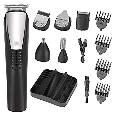 Beard Trimmer Mens Hair Clipper Mustache Trimmer Shaver Body Groomer Trimmer and Nose Trimmer Electric Razor Professional 6 in 1 Waterproof Grooming Kit by Rozia