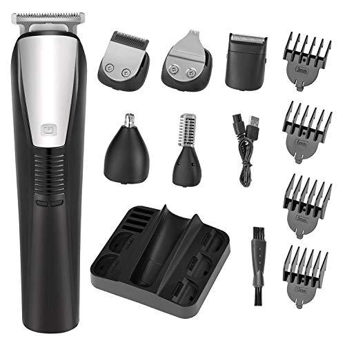 Bartschneider für Männer Haarschneidemaschine Bartrasierer Rasierer Körperpflege Haarentferner und Nasenhaarentferner Elektrorasierer Professional 6-in-1 Haarschneider Waterproof Pflegeset