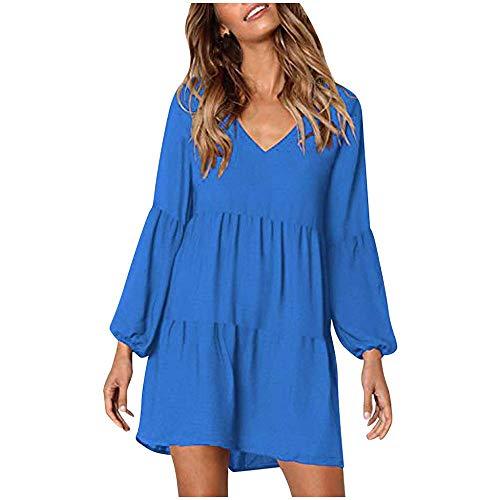 Cocila Damenkleider Beiläufige Lose Große Größe V-Ausschnitt Einfarbig Laterne Langarm Boho Strandkleider(Blau,L)
