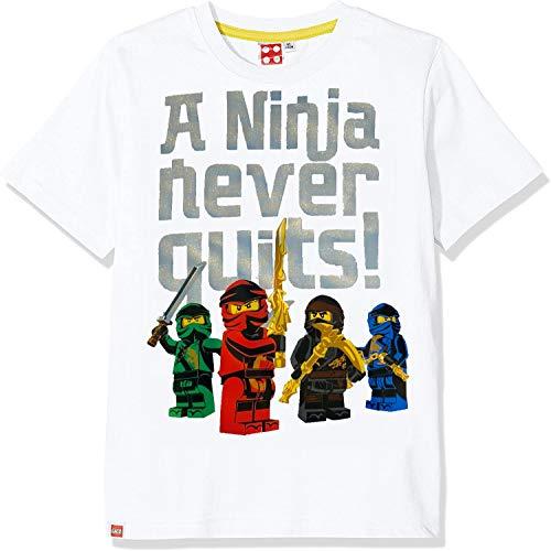 Lego Ninjago T-Shirt Jungen Weiss - Silber Reflex Ninja Kinder 3 4 5 6 7 8 9 10 11 12 Jahre Oberteil Gr.104 116 128 140 (116)