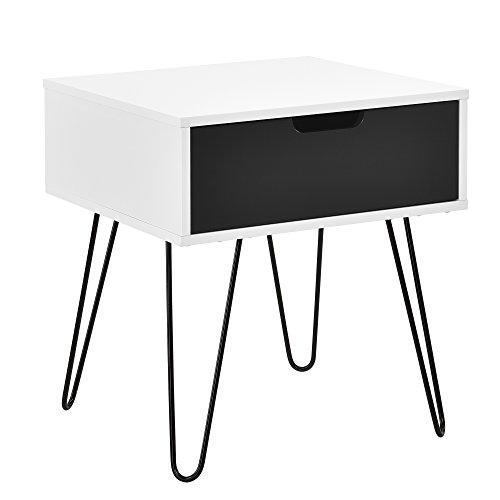 [en.casa] Beistelltisch \'Rosenheim\' / Nachttisch/Nachtschrank/Telefontisch (weiß/grau) mit Schublade (40x40x44cm)