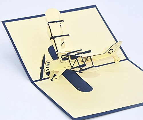 Medigy 3D pop-up wenskaart handgemaakte bloem mand vliegtuig blanco kaarten zegen papier vouwkaarten business geschenkkaart wenskaarten blauw