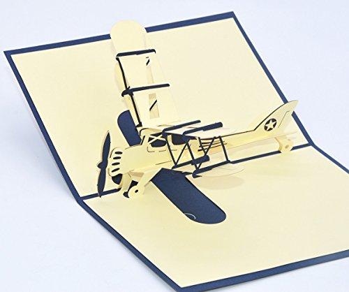 Medigy 3D POP UP Grußkarte Handgemacht Blume Korbp Flugzeug Blanko-Karten Segen Papier Klappkarten Business Geschenkkarte Glückwunschkarten Blau