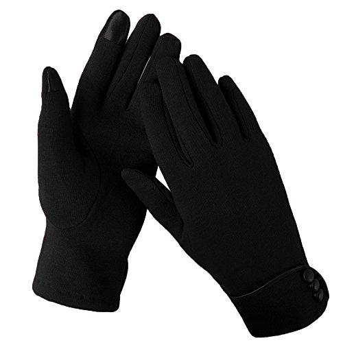 Aibrou Touchscreen Handschuhe Damen Winterhandschuhe Fahrradschuhe Frauen Handschuhe Winter Warm Handschuhe mit Fleecefutter in Rot, Schwarz und Grau (Schwarz, Normal)