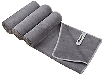 KinHwa Microfiber Sports Gym Towel Ultra Soft Athletic Towels for Sweat Super Absorbent Workout Towels for Gym Perfect for Men and Women 3 Pack 16Inch x 31Inch Gray