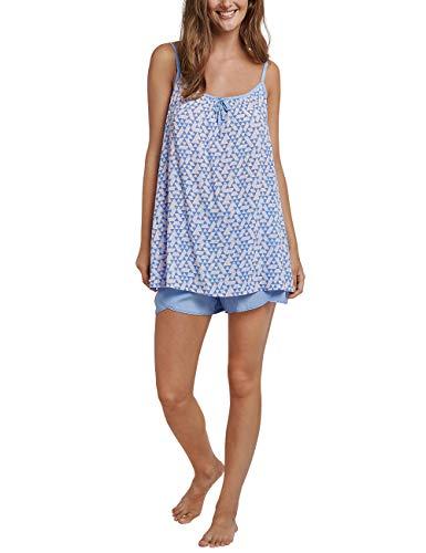 Schiesser Damen Anzug kurz, 0/0 Arm Zweiteiliger Schlafanzug, Blau (Air 802), 40 (Herstellergröße: 040)