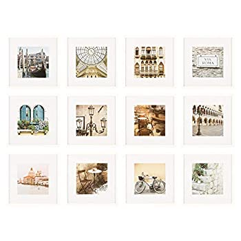Gallery Perfect Gallery Wall Kit Square Photos with Hanging Template Picture Frame Set White 12 Piece