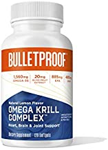 Omega Krill Complex, Lemon Flavor, 120 Softgels, 1560mg Omega-3 with EPA, DHA, GLA, and Astaxanthin, Bulletproof Keto Fish Oil Supplement for Brain and Heart Health