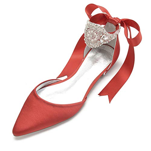 LGYKUMEG Zapatos Planos para Novia de Encaje con Puntera Cerrada Zapatos Novia...