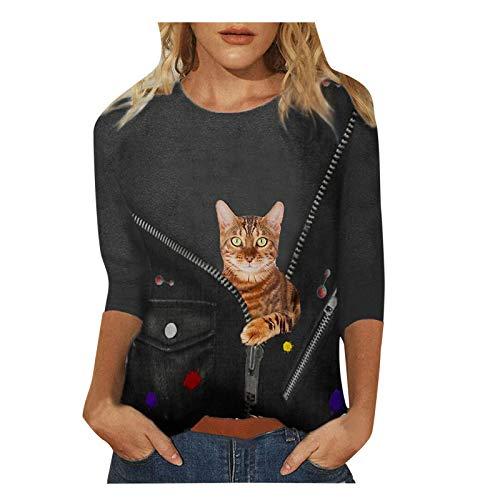 Damen Sweatshirt Plus Size Kleidung 3D Cute Cat Print Pullover Lässig Rundhals T-Shirts Tops Langarm Tunika Bluse (L, Gelb)