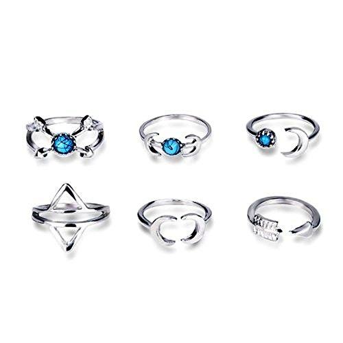 JZ001 - Juego de 6 anillos apilables para uñas de los dedos, estilo vintage, varios diseños, bonitos accesorios