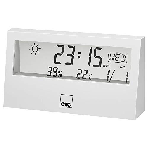 CTC WSU 7022 - Stazione meteo multifunzione con orologio e display LCD trasparente, memoria dati per temperatura e umidità, funzione di allarme, colore: Bianco