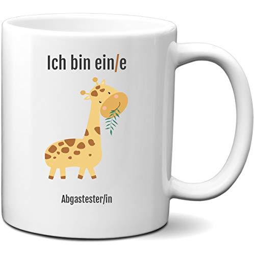 schildgetier Tasse mit Spruch - Ich Bin EIN/e Abgastester/in - Kaffeetasse beidseitig Bedruckt mit Beruf und Motiv Giraffe lustige Geschenk Tassen für Arbeit, Büro, Prüfung