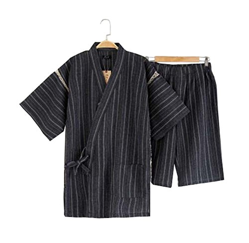 Black Temptation Kimono Jinbei camisa y pantalón japonés Loungewear/Spa albornoz (corto) - F