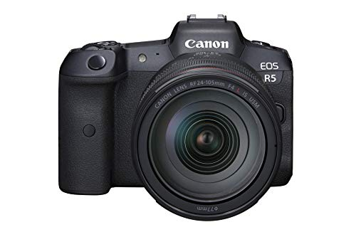 Canon EOS R5 Full Frame Mirrorless Camera + RF 24-105mm F4 L is USM Lens Kit, Black (4147C013)