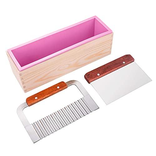 Kit de moldes de jabón de silicona 40 oz flexible rectangular molde de pan de jabón con caja de madera, acero inoxidable ondulado y raspador recto suministros para hacer jabón