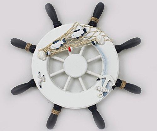 Yudu Deko Steuerrad Schiff Holz Fischernetz Muscheln Fische Maritime Deko Ø33cm