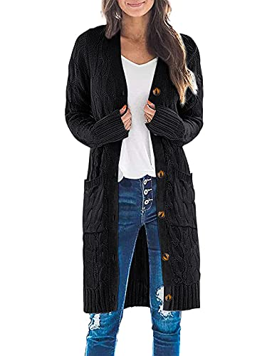 MEROKEETY Womens Long Sleeve Cable Knit Long Cardigan Open Front Button Sweater Outerwear Black