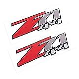 2Pcs Z71 4x4 Decals for Silverado Z71 1500 2500 Gmc Sierra Suburban Stickers (Red)