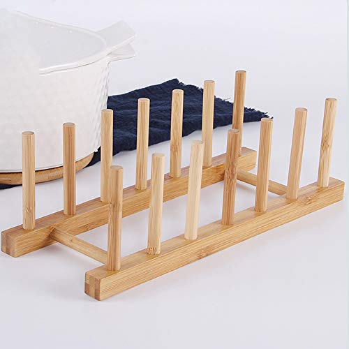Escurreplatos de bambú, soporte de secado vertical, escurridor de platos, soporte de almacenamiento, organizador de armario de cocina
