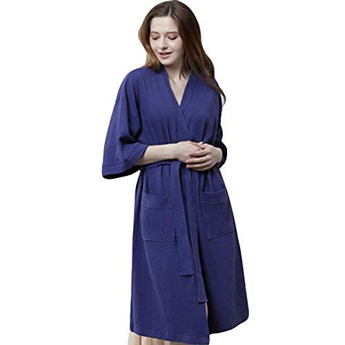 Generic Brands Bademantel Frauen 100% Baumwolle saugen Schweißtuch Bad Robe Femme Sexy Kimono Waffel Bademantel Brautjungfer Bademantel Männer Nachtwäsche