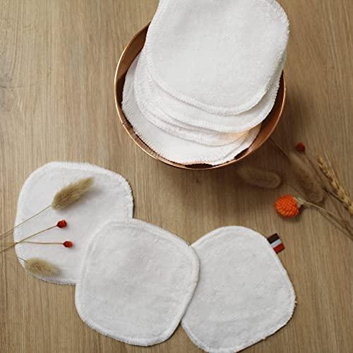 10 Carrés Démaquillants, Lavables, Bi-matière : Coton/BAMBOU & Microfibre - Lingettes démaquillantes pour tous types de peau, retire make up waterproof, Makeup Pads écologiques