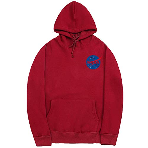 YUESJX Explosión de Comercio Exterior de los Hombres de desgaste de la Carta Impresa de los Hombres Suéter con Capucha Casual de Manga Larga Suéter de los Hombres Rojo granate XXL