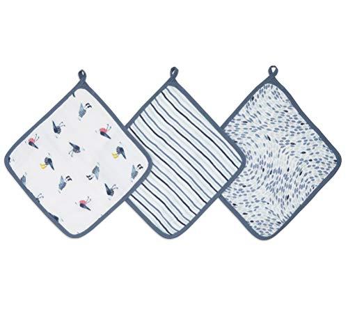 aden + anais™ Essentials - Set de 3 débarbouillettes pour la Toilette en Mousseline 100% Coton - Débarbouillette Chic - Douce - Accrochable - Garçon - Fille - Imprimé Seashore - 30 cm x 30 cm