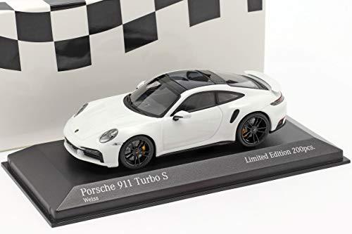 Minichamps Porsche 911 (992) Turbo S 2020 weiß / Schwarze Felgen 1:43