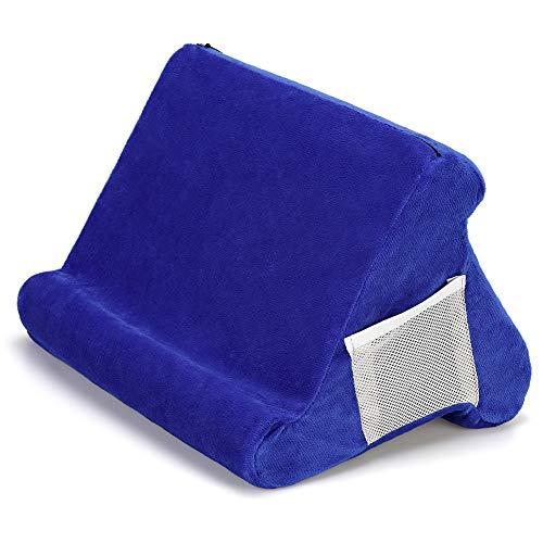 ZEUSE® Soporte de almohada plegable para tableta, libro, soporte de lectura para el hogar, cama, sofá, multiángulo, suave, soporte para tableta, soporte para lectores electrónicos (azul)