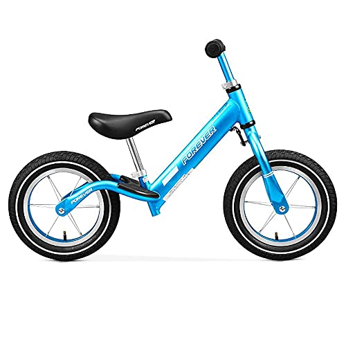 YMDA Balance Bike, No Sharp Point Fish Scale Welding Protection Foot Pedal, Spoke Wheel Aluminum Alloy Seat Stem Can Be Adjusted Up and Down
