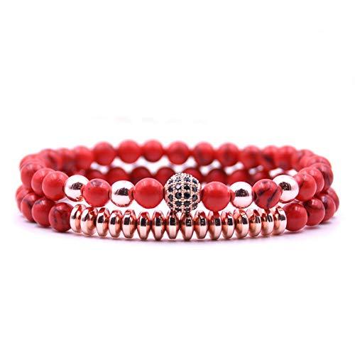 crintiff - Bracelet en Perle Naturelle Chic et Elegant pour Femme - Couleur Rouge