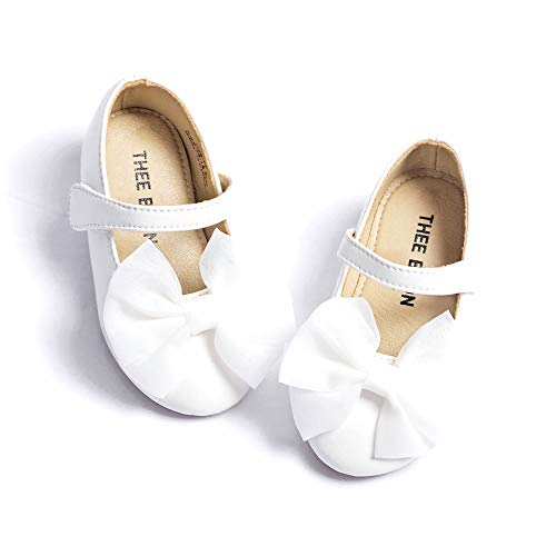 THEE BRON Girl's Toddler/Little Kid Ballet Mary Jane Flat Shoes (6M US Toddler, G06 White)