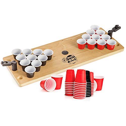 Offizieller Small Pong | Mini Shot Pong Tisch aus Holz | Premium Qualität | 1 Bierpong Holzplatte | 2 Mini Werfer | 62 Shooter 4cl | Party-& Aperitif Spiel | House Party | OriginalCup®