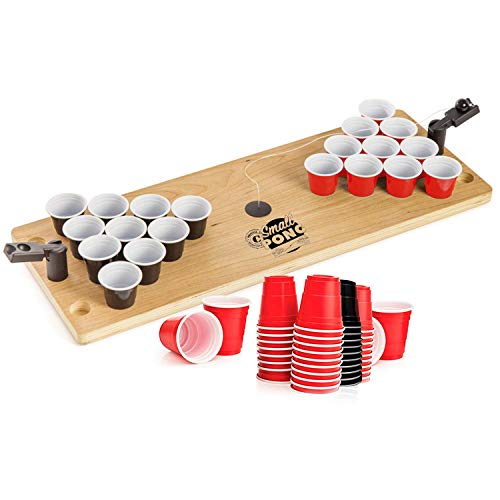 Pack pequeño Oficial de Pong con 62 Tiradores | Mini Mesa de Madera Beer Pong 1 Bandeja de Madera para Cerveza Pong | 2 Mini lanzadores | 62 Shooters 4cl | Juego de Beber | OriginalCup®