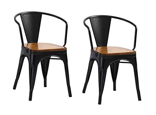 SAM 2er Set Metallstuhl Lena, Schwarz matt, Sitz aus massivem Pinienholz, Esszimmerstuhl im Industrial-Design, stapelbarer Bistrostuhl mit Armlehne