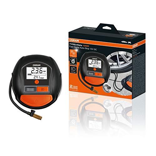 OSRAM TYREinflate 1000, Digitales Reifenfüllgerät mit Auto-Stopp und LED Licht, tragbarer 12V Kompressor für Autoreifen, Stromanschluss via Zigarettenanzünder, Reifenbefüllung in 2 Minuten