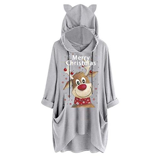 Sudadera para Mujer,Moda Manga Larga Casual Chaqueta con Estampado de Ciervos Navidad Talla Grande Hoodie Sudadera con Capucha riou