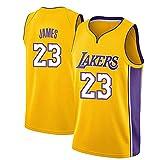 TPPHD Jerseys de Baloncesto de los Hombres de la NBA, Los Ángeles Lakers # 23 Lebron James Classic Camiseta, Bordado Transpirable Resistente al Ventilador sin Mangas Chaleco,Amarillo,L