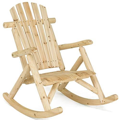 AchieveUSA Wood Single Porch Rocker Lounge Patio Rocking Chair