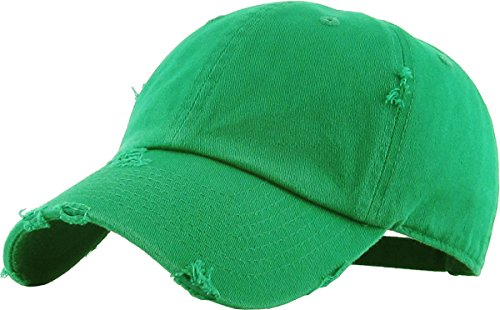 KBETHOS Vintage Washed Distressed Cotton Dad Hat Baseball Cap Adjustable Polo Trucker Unisex Style Headwear (Vintage) Kelly Green Adjustable