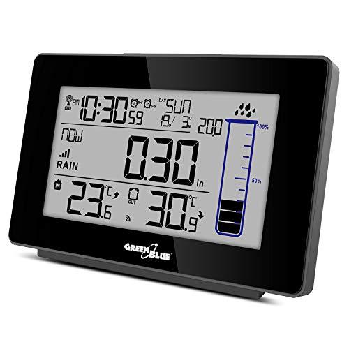 Green Blue Estación meteorológica inalámbrica GB541 con Sensor Exterior, pluviómetro DCF, Temperatura, Humedad, Alarma, Calendario, precipitaciones