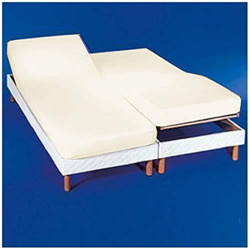 Cotton Art - Drap-housse pour lit double articulé 160 x 190/200 cm, couleur écru, dimensions de chaque lit de 80 x 190/200