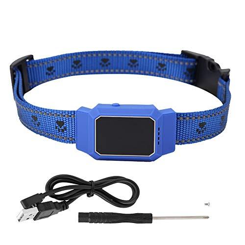 Zyyini Collare di localizzazione per Animali Domestici, Mini USB Intelligente Impermeabile di Ricarica GPS Localizzatore di Sicurezza Anti-Perso in Tempo Reale per Cane Gatto(Blu)