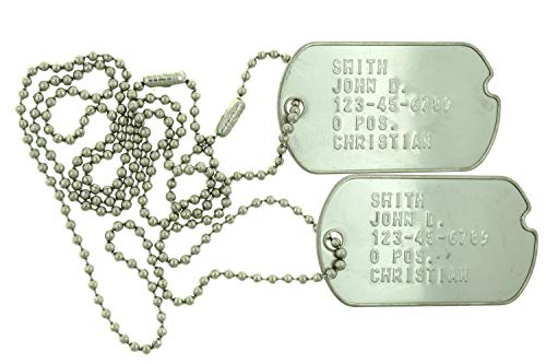 Custom Embossed Personalized WWII Style Notched Stainless Steel Army Military Spec ID Dog Tags