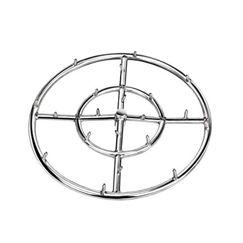 Stanbroil 12' High Flame Round Jet Burner Ring for Natural or Propane Gas Fire Pit, 304 Series Stainless Steel, Double Ring