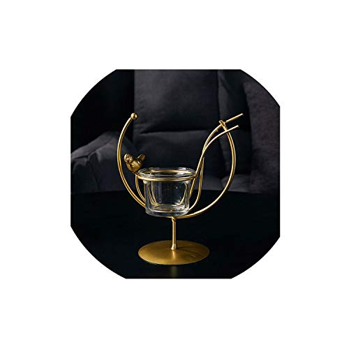 FFFFFF Creative Candlestick Nordic Gold Candle Holders Home Decoration Metal Crafts Home Ornaments Wedding Party Dinner Table Decor Art-Height 16cm-