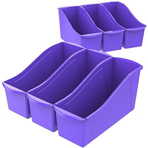 Storex Large Book Bin, 14.3 x 5.3 x 7 Inches, Purple, Case of 6 (71103U06C)