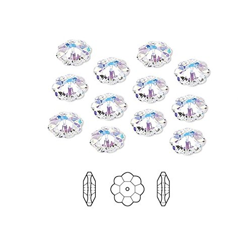 Swarovski Crystal Beads Faceted Marguerite Flower 3700 Clear AB 6x2mm Package of 12