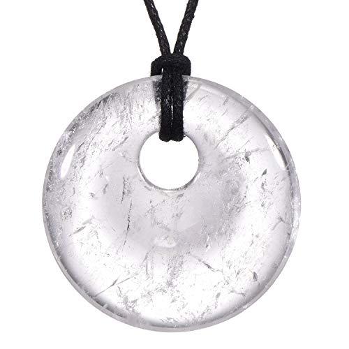 Morella Damen-Halskette 80 cm mit rundem Edelstein Anhänger Bergkristall im Samtbeutel